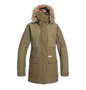 DC Shoes Womans Panoramic 15K Waterproof Ski Snowboard Jacket Green Olive Night Front