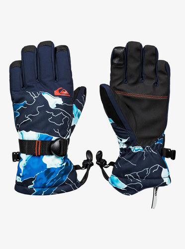 Quicksilver Boy's Mission Ski and Snowboard Glove Blue Front View