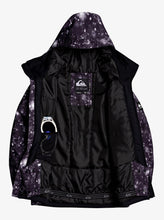 Quicksilver Boy's Mission Printed Snow Jacket True Black and White Front Opened View