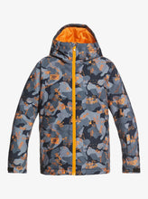 Quicksilver Boy's Mission Printed Snow Jacket Grey and Orange Front View