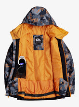 Quicksilver Boy's Mission Printed Snow Jacket Gray and Orange Opened front View