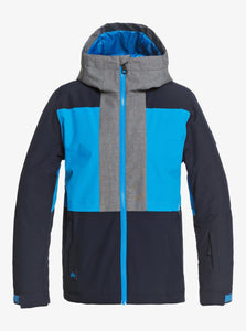 Quicksilver Boy's Groomer Snow Jacket Blue and Black Front View