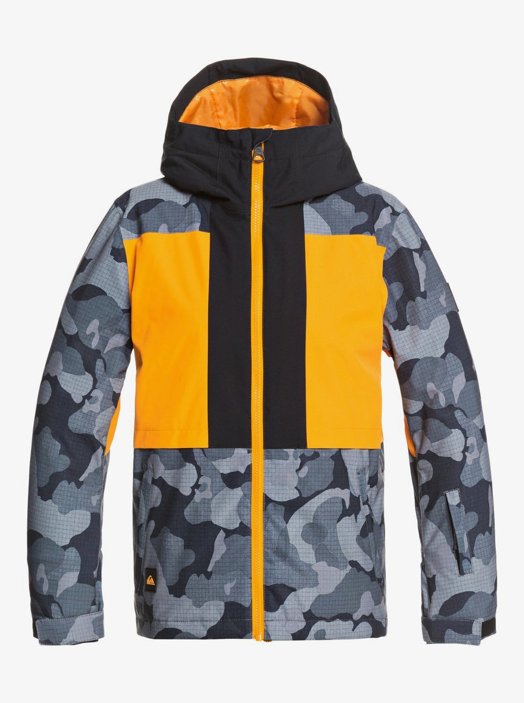Quicksilver Boy's Groomer Snow Jacket Orange and Grey Front View