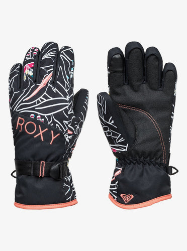 Roxy Girl's Jetty Ski and Snowboard Gloves Black Front and Back View