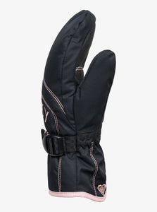 Roxy Girl's Jetty Solid Ski and Snowboard Mittens Black Side View