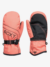 Roxy Girl's Jetty Solid Ski and Snowboard Mittens Pink Coral Front and BAck