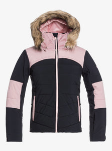 Roxy Girl's Bamba Girl Snow Jacket Pink and Black Front View