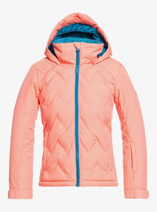 Roxy Girl's Breeze Snow Jacket Fusion Coral Front View