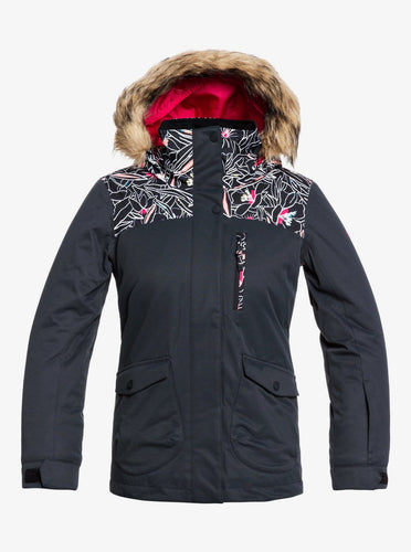 Roxy Girl's Moonlight Snow Jacket Black Front View