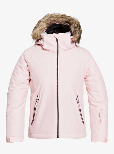 Roxy Girl's American Pie Solid Snow Jacket Powder Pink Front View
