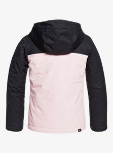 Roxy Girl's Galaxy Snow Jacket Black and Pink Back View