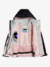 Roxy Girl's Galaxy Snow Jacket Black and Pink Front Opened View