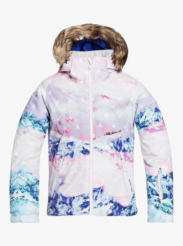 Roxy Girl's American Pie SE Snow Jacket Bright White Pyrennes Front View