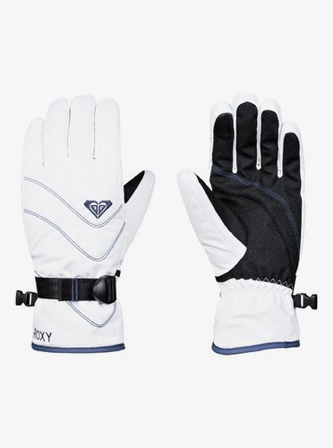 Roxy Women's Jetty So Ski and Snowboard Gloves Bright white Front and back view