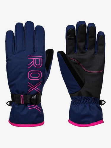 Roxy Women's Freshfield Ski and Snowboard Gloves Medieval Blue front and back view