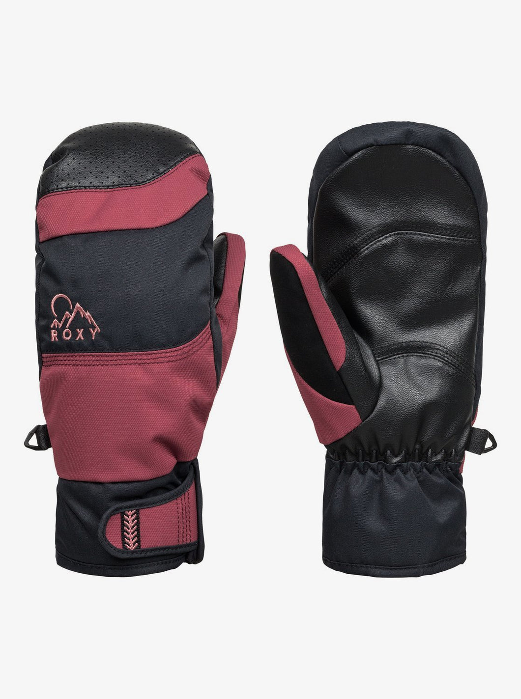 Roxy Women's Lumio Mitt Oxblood Red Front And Back View