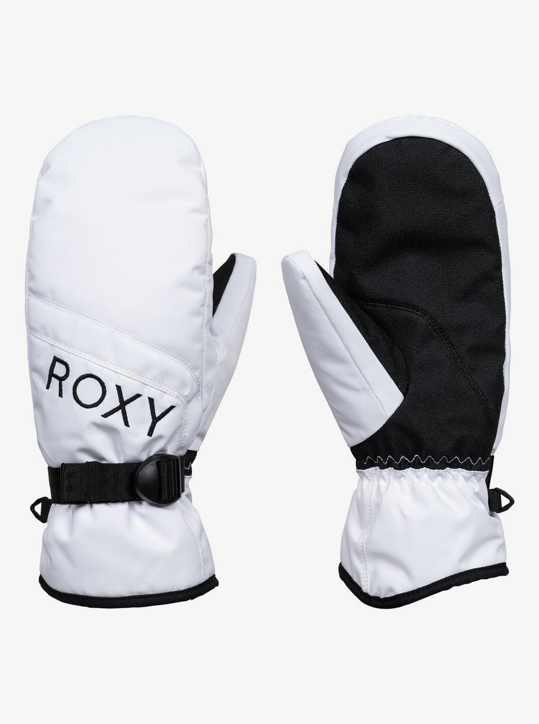 Roxy Jetty Solid Snow Mitts White Front and Back View