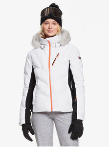 Roxy Snowstorm 15K Waterproof Ski and Snowboard Jacket White Main Image Model