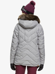 Roxy Women's Quinn Snow Jacket Heather Grey Modeling back view full body