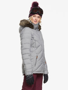 Roxy Women's Quinn Snow Jacket Heather Grey modeling side view