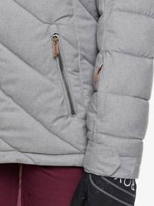 Roxy Women's Quinn Snow Jacket Heather Grey pocket close-up modeled