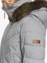 Roxy Women's Quinn Snow Jacket Heather Grey shoulder view closeup model