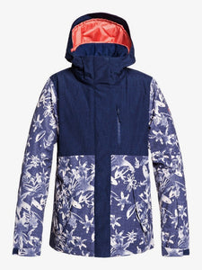 Roxy Women's Jetty Block Snow Jacket Bleached Flowers front and main view