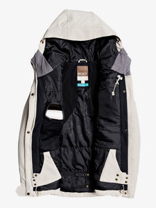 Roxy Andie Snow Jacket Oyster Grey Front Opened view
