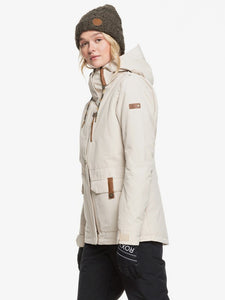 Roxy Andie Snow Jacket Oyster Grey Side on model