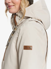 Roxy Andie Snow Jacket Oyster Grey Shoulder Model Close-up