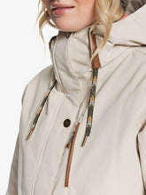 Roxy Andie Snow Jacket Oyster Grey  Neck on model close up