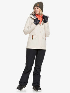 Roxy Andie Snow Jacket Oyster Grey Model standing full body view