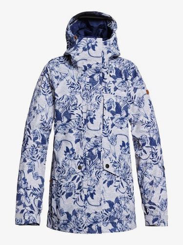 Roxy Women's Gore-Tex 2L Glade Printed Jacket Botanical Flowers Closed front view