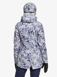 Roxy Women's Gore-Tex 2L Glade Printed Jacket Botanical Flowers full body back view