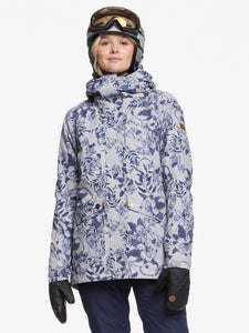 Roxy Women's Gore-Tex 2L Glade Printed Jacket Botanical Flowers closed front modeled view