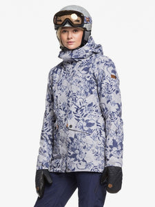 Roxy Women's Gore Tex 2 L Glade Print Jacket Botanical Flowers modeling front view
