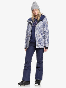 Roxy Women's Gore-Tex 2L Glade Printed Jacket Botanical Flowers Opened modeled view full body view