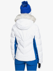 Roxy Women's Snowstorm Jacket Bright White Model Back