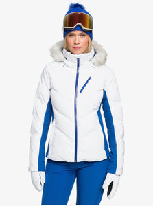 Roxy Women's Snowstorm Jacket Bright White Model Front