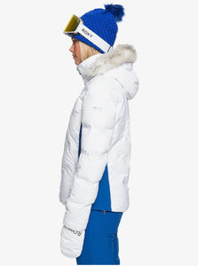 Roxy Women's Snowstorm Jacket Bright White Model Side