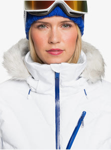 Roxy Women's Snowstorm Jacket Bright White Model Front Close Up