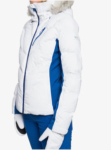 Roxy Women's Snowstorm Jacket Bright White Model Side Angle