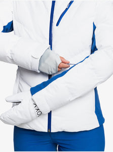 Roxy Women's Snowstorm Jacket Bright White Close Up Sleeves Wrist Gaiter
