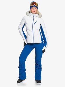 Roxy Women's Snowstorm Jacket Bright White Model Front Pose
