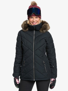 Roxy Women's Quinn Snow Jacket True black modeled front view