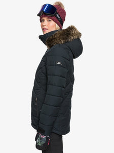 Roxy Women's Quinn Snow Jacket True black modeling side view