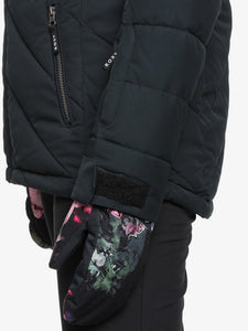 Roxy Women's Quinn Snow Jacket True black close up view of pocket and sleeve