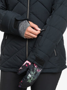 Roxy Women's Quinn Snow Jacket True black modeled front view close-up