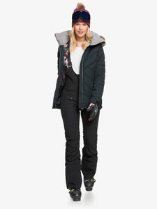 Roxy Women's Quinn Snow Jacket True black full body front view with model