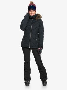 Roxy Women's Quinn Snow Jacket True black closed jacket fullbody front view